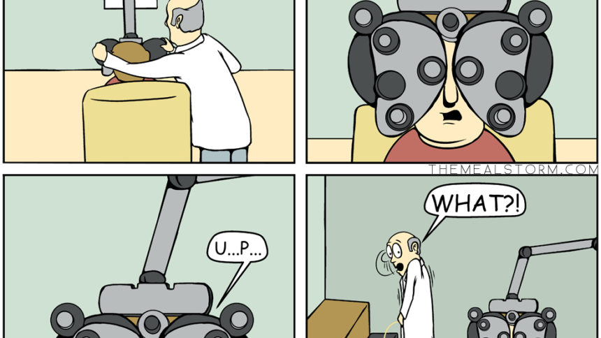 Eye exam comic peeing.